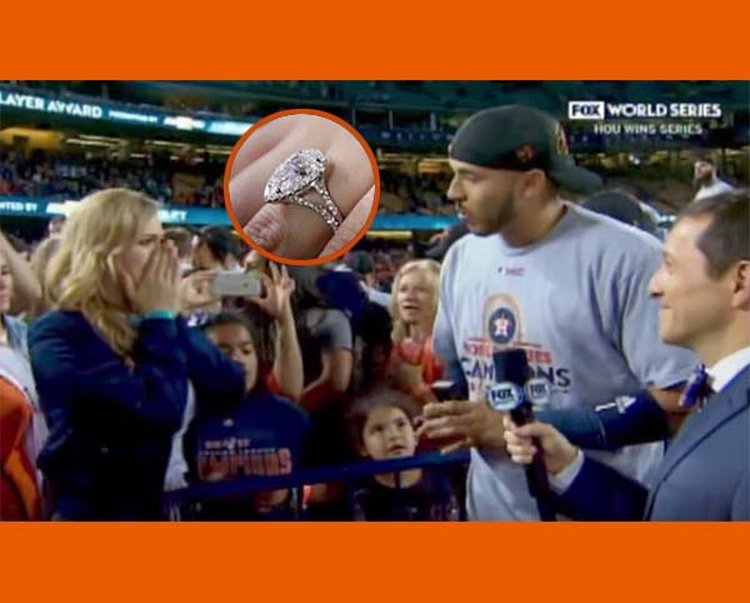 Houston Astros' Carlos Correa Proposes on National TV Minutes After His Team Wins World Series